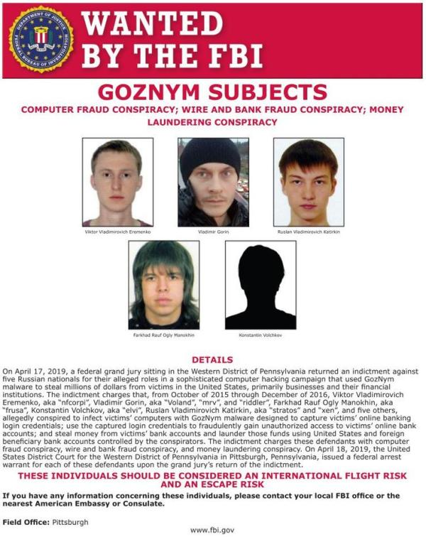 出来混迟早要还,FBI 通缉5名在逃黑客