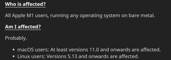 苹果M1芯片爆出安全漏洞:无法修复,只能重新设计
